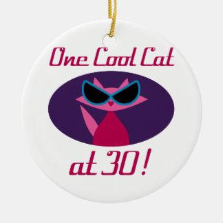 Cool Cat 30th Birthday Ceramic Ornament