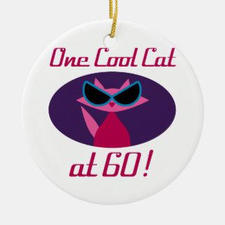 Cool Cat 60th Birthday Ceramic Ornament