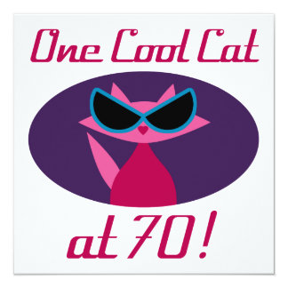 Cool Cat 70th Birthday Card