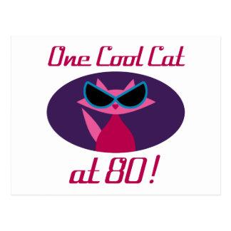 Cool Cat 80th Birthday Postcard