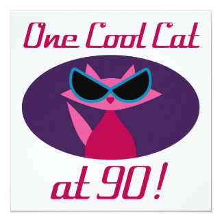 Cool Cat 90th Birthday Card