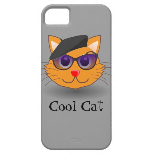 Cool Cat Beatnik Hip Musician with Beret iPhone 5 Covers