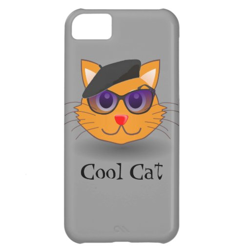Cool Cat Beatnik with Beret Cover For iPhone 5C