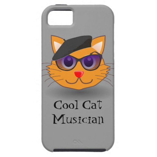 Cool Cat Beret Sunglasses Funny Jazz Musician iPhone 5 Cases