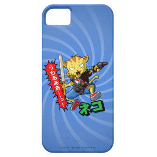 Cool Cat Boy with Gun and Sword and Blue Swirl iPhone 5 Cases