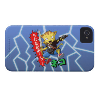 Cool Cat Boy with Gun and Sword and thunder bolts iPhone 4 Case-Mate Cases