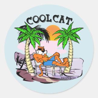 Cool Cat Classic Round Sticker