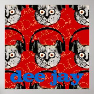 cool cat DJ headphone Poster