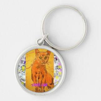 cool cat drip slogan keychain