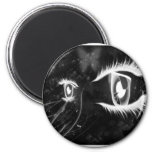 Cool Cat  Eyes - Black with white lashes Magnets