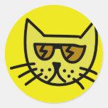 Cool cat face classic round sticker