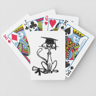 Cool Cat Graduation Bicycle Playing Cards
