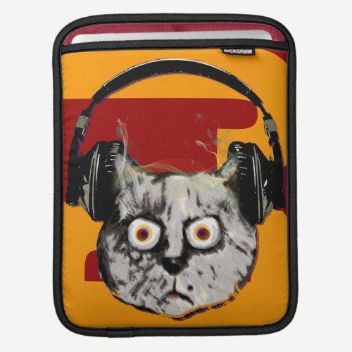 cool cat/headphone dj music-themed iPad sleeve