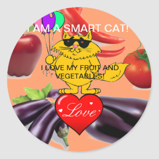 COOL CAT - I LOVE MY FRUIT & VEGETABLES-STICKER CLASSIC ROUND STICKER