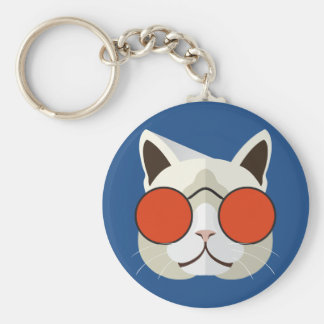 Cool Cat in Sunglasses Basic Round Button Keychain
