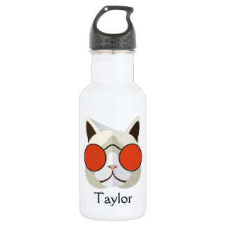 Cool Cat in Sunglasses Monogrammed Stainless Steel Water Bottle