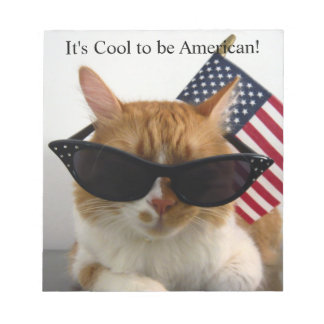 Cool Cat in Sunglasses with American Flag Notepad