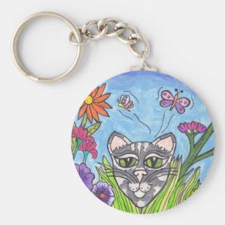 Cool Cat in the Garden keychain