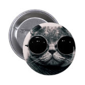cool cat kool kat with shades 2 inch round button