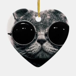 cool cat kool kat with shades ceramic ornament