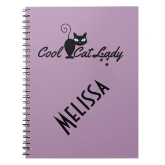 COOL CAT LADY Design Gift Present for Kitty Crazy Note Book