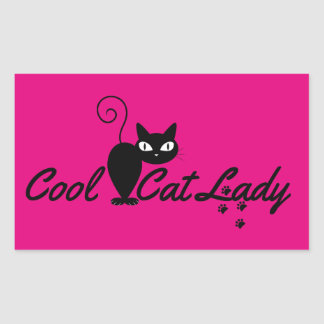 COOL CAT LADY Design Gift Present for Kitty Crazy Rectangular Stickers