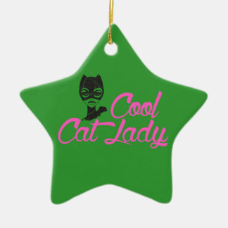COOL CAT LADY gift present for Kitty Cat Lover Fan Ceramic Ornament