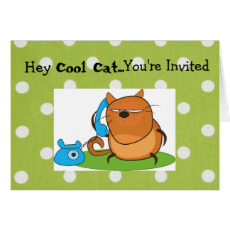 Cool Cat Party Invite Card