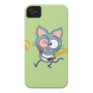 Cool cat playing baseball iPhone 4 Case-Mate cases