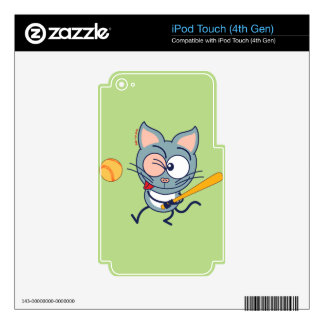 Cool cat playing baseball iPod touch 4G decals
