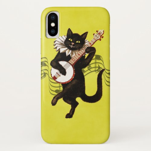Cool Cat Playing the Banjo on Yellow Phone Case