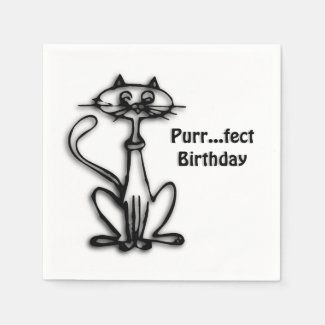 Cool Cat Purr Fect Birthday Standard Cocktail Napkin