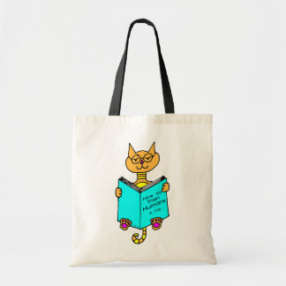 Cool Cat Reading Canvas Bags