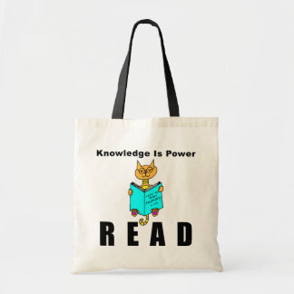 Cool Cat Reading Knowledge Is Power Canvas Bags