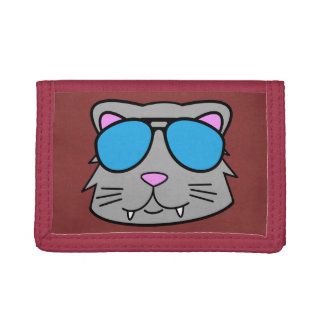 Cool Cat Red Tri-fold Wallet