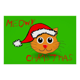Cool Cat Santa Meowy Christmas Poster
