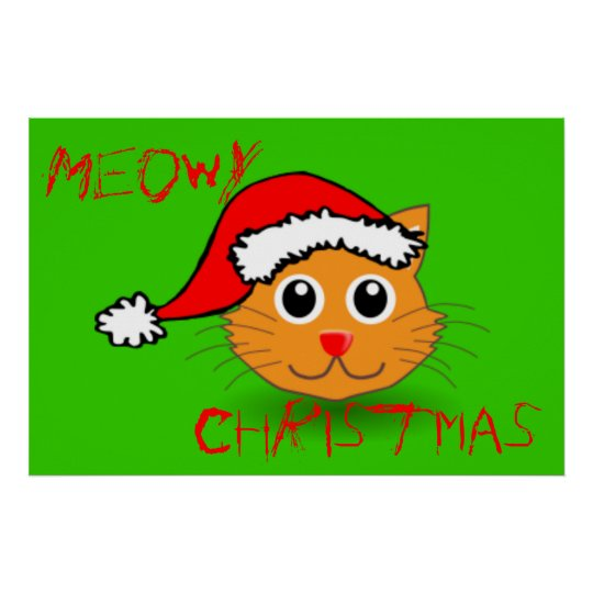 Cool Cat Santa Meowy Christmas Poster