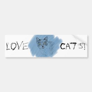 Cool Cat Scribble on Blue Background Bumper Sticker