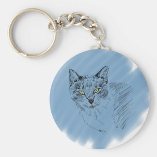 Cool Cat Scribble on Blue Background Keychain