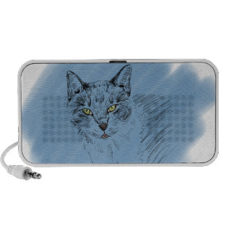 Cool Cat Scribble on Blue Background iPod Speakers