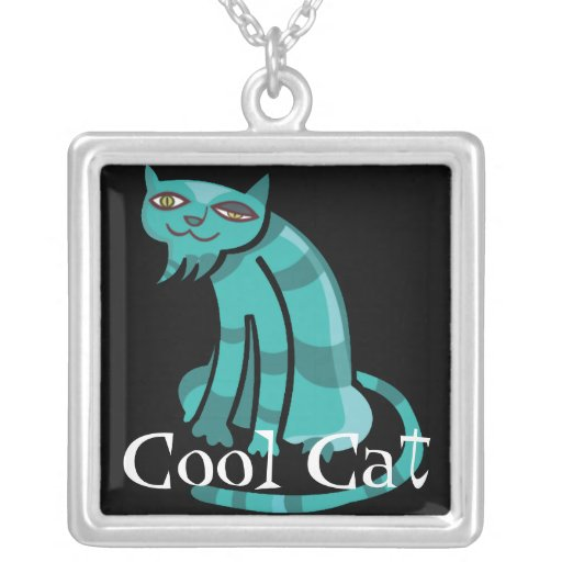 Cool Cat Square Pendant Necklace