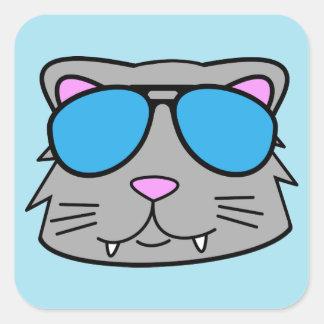 Cool Cat Square Sticker