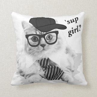 Cool Cat 'sup girl? Throw Pillow