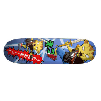 Cool Cat Warrior with Gun and Sword and Thunder Skateboard Deck