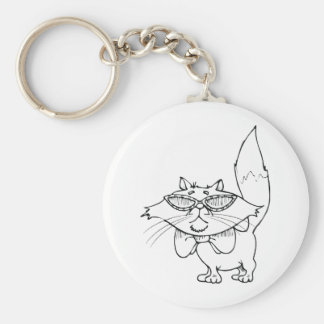 Cool Cat Wearing Sun Glasses Basic Round Button Keychain