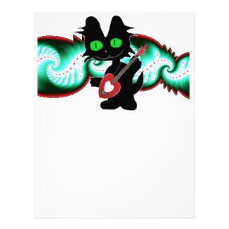Cool Cat With A Guitar Letterhead Template