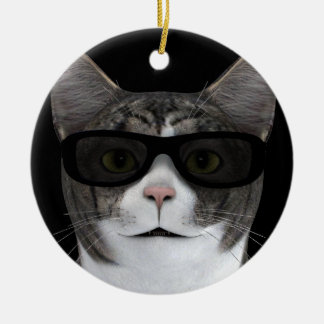 Cool Cat With Black Sunglasses Ceramic Ornament