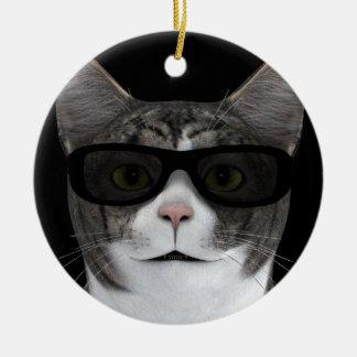 Cool Cat With Black Sunglasses Ceramic Ornament