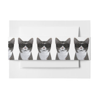 Cool Cat With Black Sunglasses Invitation Belly Band