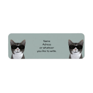 Cool Cat With Black Sunglasses Label